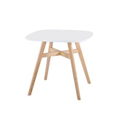 Étkezőasztal, 80x80 cm, fehér-fa - PIERETTE